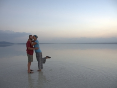 Striking a pose at the salt lake