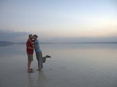 Striking a pose at the salt lake