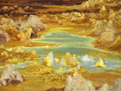 Dallol is the lowest known sub-aerial volcanic area in the world