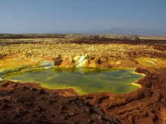 Salt water pond at Dallol volcano