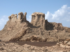 Our first view of Salt Mountain, outskirts of Dallol