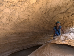 Becky exploring the Salt Mountain complex