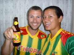 Showing our Ethiopian pride in the football match against Nigeria (Ethiopia lost but we got lots of happy smiles and thumbs up from Ethiopians who are football crazy)