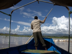 Our boat driver navigates us through the shallow section of Lake Chamo