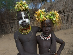 Karo boys striking a pose. The Karo tribe numbers about 1,000 and is rapidly dwindling