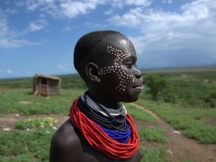 Detail of the face paint on this Karo girl's face