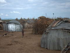 Oddly enough, the huts of the Dhasanech tribe are constructed of tin. We learned that the huts are vacant during the day when it is hot outside, but at night the metal cools quickly, making for a cool and pleasant sleep