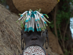The most desirable Mursi woman in the village. This lady had the biggest clay lip plate we saw during our entire time in Mago National Park