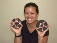 Striking a pose with two Mursi clay lip plates