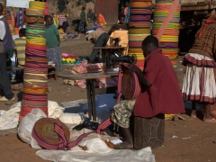 A colorful section of the Konso market. The Konso are well known for their traditional crafts, particularly cotton spinning and weaving, and the Konso people still wear traditional woven clothing