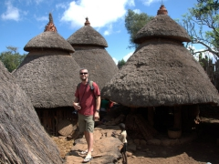 Robby inside Chief Gezahegne's family compound. We thought a visit here was a highlight of Konso as the Chief is very welcoming and gave us an informative briefing of his role of leader and pacifier  in Konso society