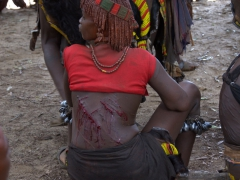 One of the male initiate's female relatives with bloody whip marks to prove her devotion to him; Bull Jumping ceremony