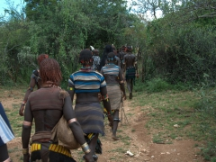 Joining the Hamer tribe for the long walk out to the bull jumping ceremonial grounds