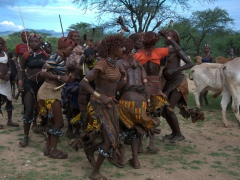 Hamer ladies working themselves up in a frenzy; Bull Jumping Ceremony
