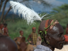 A Hamer elder dons a clay bun with ostrich feather. These are traditional symbols of virility, status and masculinity