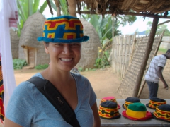 Becky models a hand knitted hat; Dorze Lodge