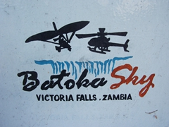 Sign for Batoka Sky, a Zambian operator that offers both microlight and helicopter rides over Victoria Falls