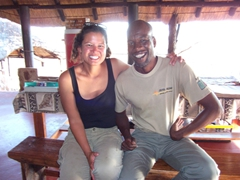 Becky and Kulu, the lead Abseil Zambia guide