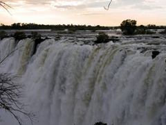 The gushing waterfall as seen from the Zambian side