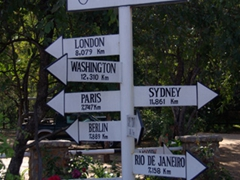 Directional mile marker; Batoka Sky Complex