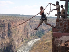 "Becky taking the leap of faith over Batoka Gorge on her first attempt at the ""gorge swing"""