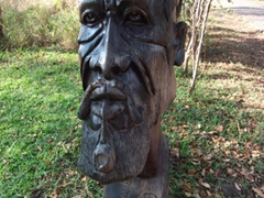 Wooden statue at the Zimbabwean side of Victoria Falls