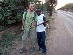Robby and Funny Boy strike a pose; Victoria Falls
