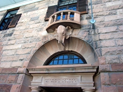 Elephant archway on an old colonial building; Bulawayo