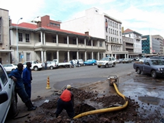 City workers fixing drain lines; Harare