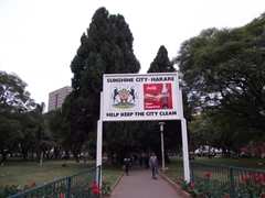 Entrance portal to the African Unity Square in downtown Harare