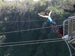 Becky taking a leap of faith in her bungee jump at Vic Falls