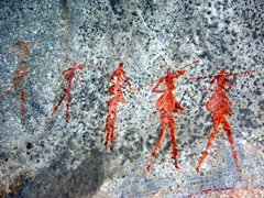 Detail of 2000 - 3000 year old cave paintings; near Matopos National Park