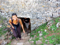 Becky emerges from a passageway at the Great Zimbabwean Ruins