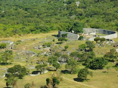 View of the Great Enclosure, which measures 11 meters tall by 4 meters thick by 200 meters in circumference; Great Zimbabwean Ruins