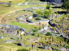 View of the valley enclosures (dwellings where families resided within the Great Zimbabwean Ruins)