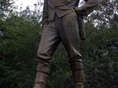 An imposing statue of David Livingstone at the Victoria Fall's Park