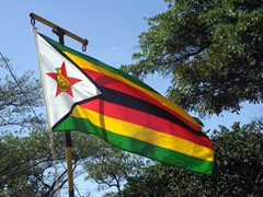 Close up view of the Zimbabwean national flag
