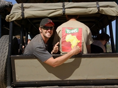 Robby flashes a thumbs up at our truck T-shirt; Matopos National Park