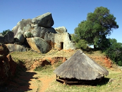 View of the acropolis on the Hill Complex (this is the area where the King's bedroom was located and his meals were prepared); Great Zimbabwean Ruins