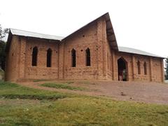 Exterior view of a Lake Bunyonyi church