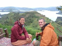 Relaxing as we admire the view of Lake Bunyonyi