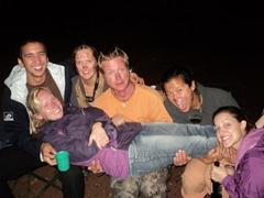 Naomi is the center of attention as Luke, Kendra, Lars, Becky and Ally pick her up during Nancy's b-day celebrations; Lake Bunyonyi