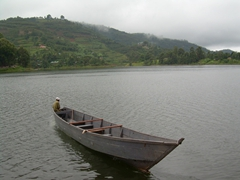 View of our Lake Bunyonyi boat shuttle