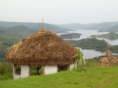 A rustic hut with a million dollar view overlooking Lake Bunyonyi