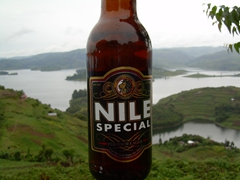 View of Nile Special beer with Lake Bunyonyi in the background