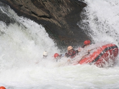 Its a tough landing but we manage to keep our raft upright; Nile River
