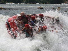 Its about to get ugly people! We struggle to keep the raft upright as we hit a rough patch of the Nile River
