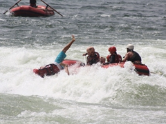 Becky and Matt are the first two casualties as they are catapulted from the raft; Nile River rapids