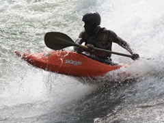 View of a rescue kayaker; Nile River Explorers