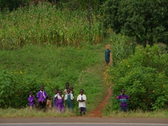 A curious crowd of onlookers watches our every movement during our first lunch stop in Uganda